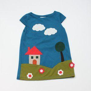 Marvie Teal House Applique Dress Sz 3